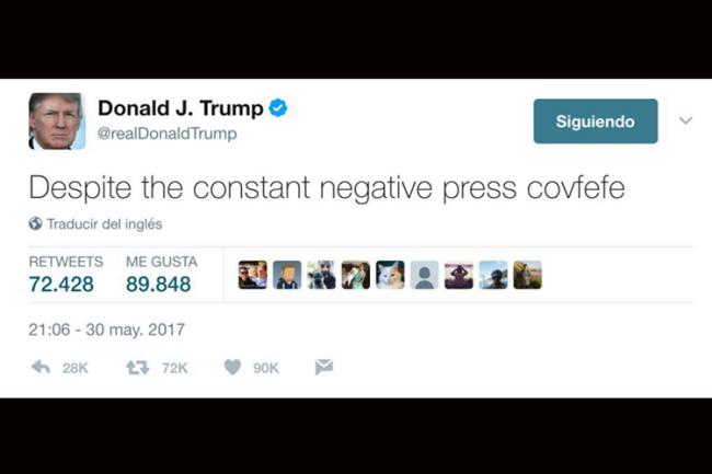 Donald Trump tuíta palavra ininteligível