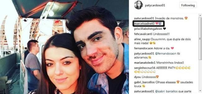 Marcelo Adnet e Patricia Cardoso trocam afagos na internet