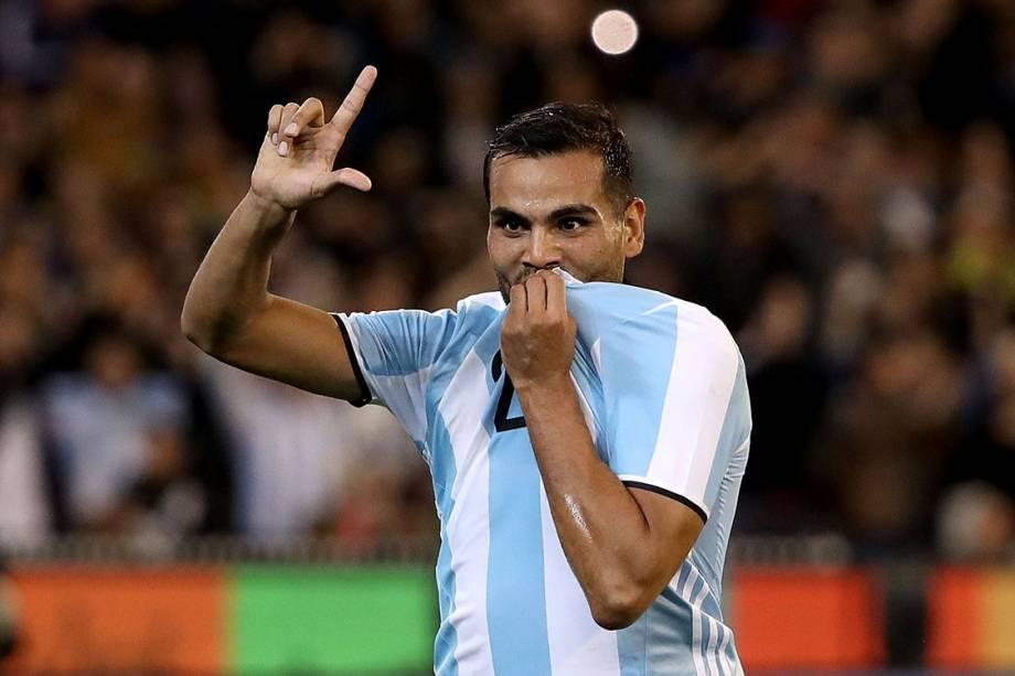 Gabriel Mercado, da seleção argentina, comemora gol contra o Brasil durante amistoso em Melbourne, Austrália - 09/06/2017