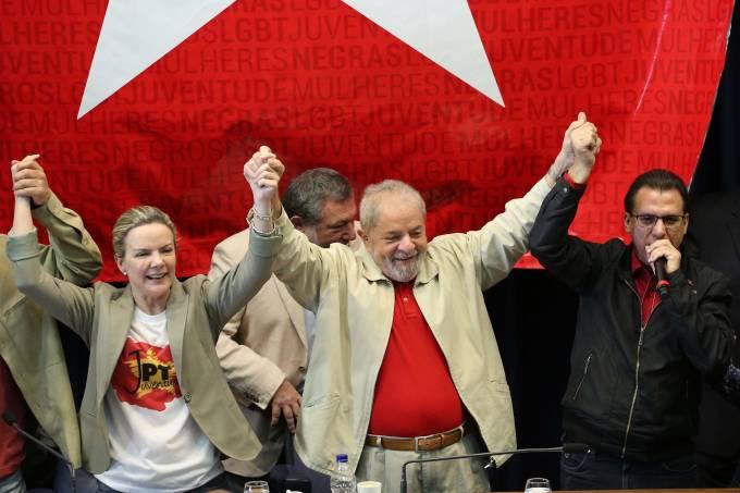 Lula durante cerimônia de posse do diretório estadual do PT