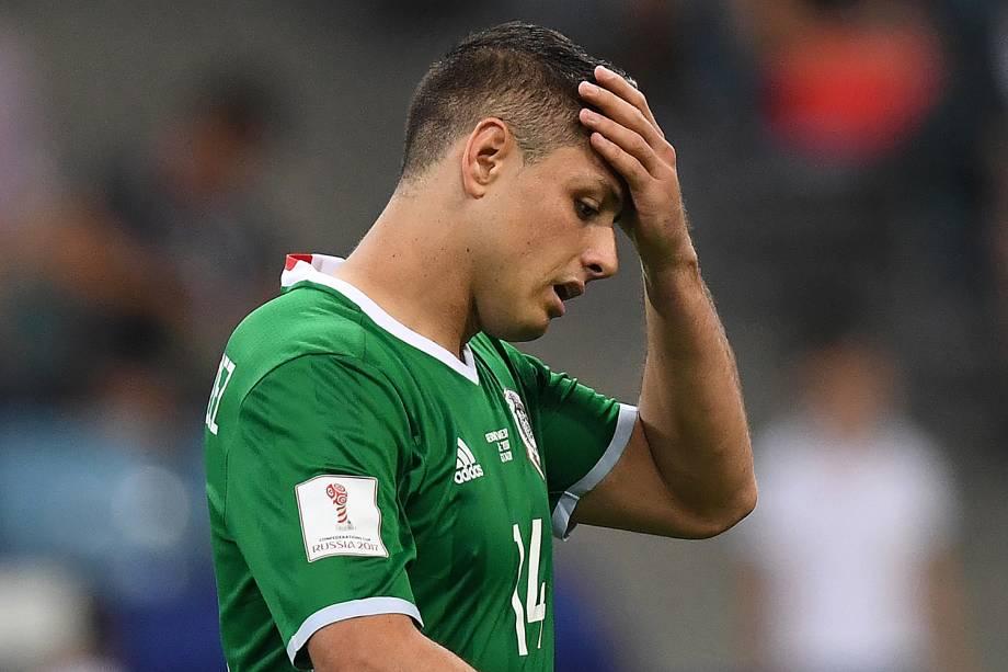 O jogador Javier Hernandez do México durante a partida contra Alemanha, válida pelas semifinais da Copa das Confederações 2017 - 29/06/2017
