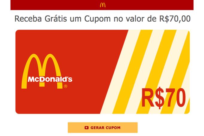 Site divulga cupom falso de 70 reais