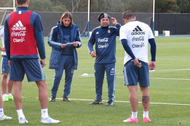 Jorge Sampaoli comanda treino da Argentina