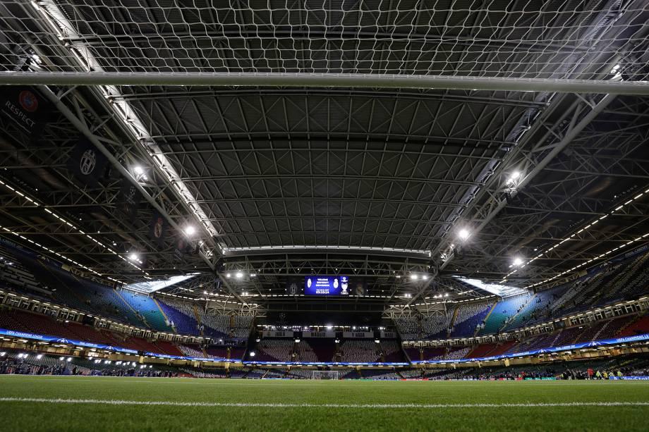 Vista geral do Millenium Stadium, em Cardiff, no País de Gales para a final da Liga dos Campeões da Europa - 03/06/2017
