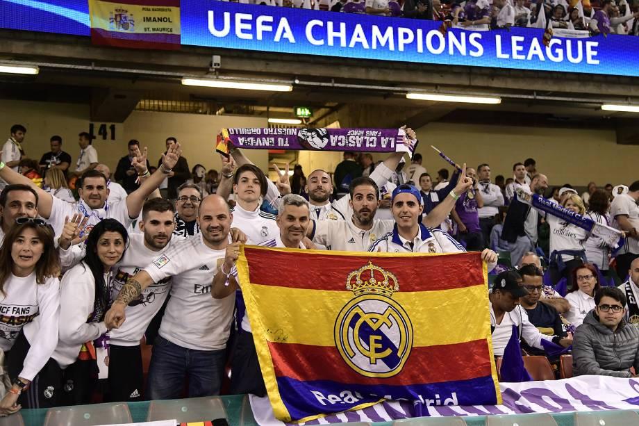 Fãs do Real Madrid no Millenium Stadium, em Cardiff, no País de Gales para a final da Liga dos Campeões da Europa - 03/06/2017