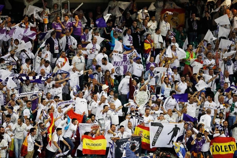 Torcedores durante a final da Liga dos Campeões da Europa entre Real Madrid e Juventus no Millenium Stadium, em Cardiff, no País de Gales - 03/06/2017