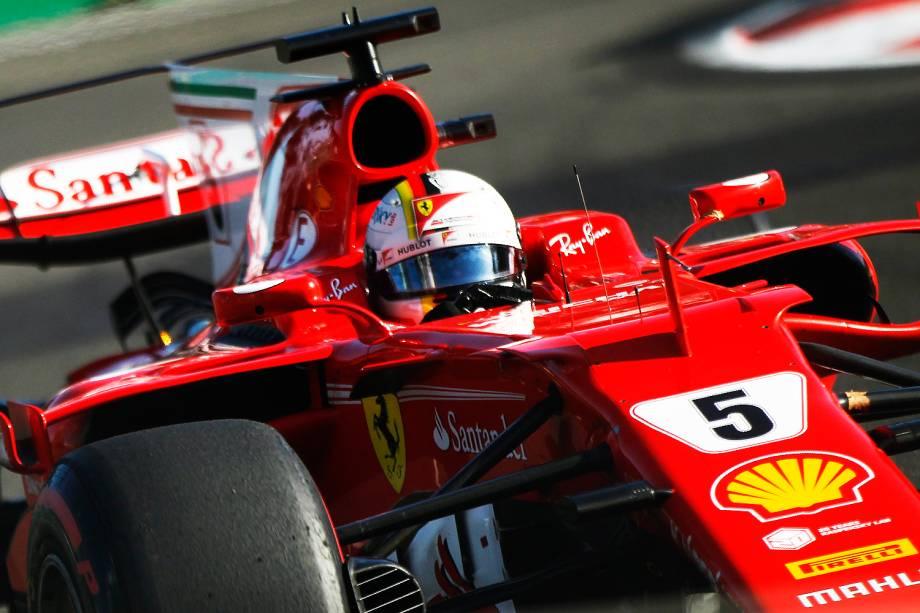Sebastian Vettel durante o Grande Prêmio do Azerbaijão. - 25/06/2017