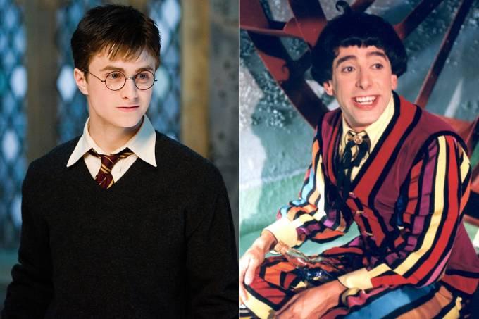 Personagens Harry Potter, da saga homônima, e Nino, do 'Castelo Rá-Tim-Bum'