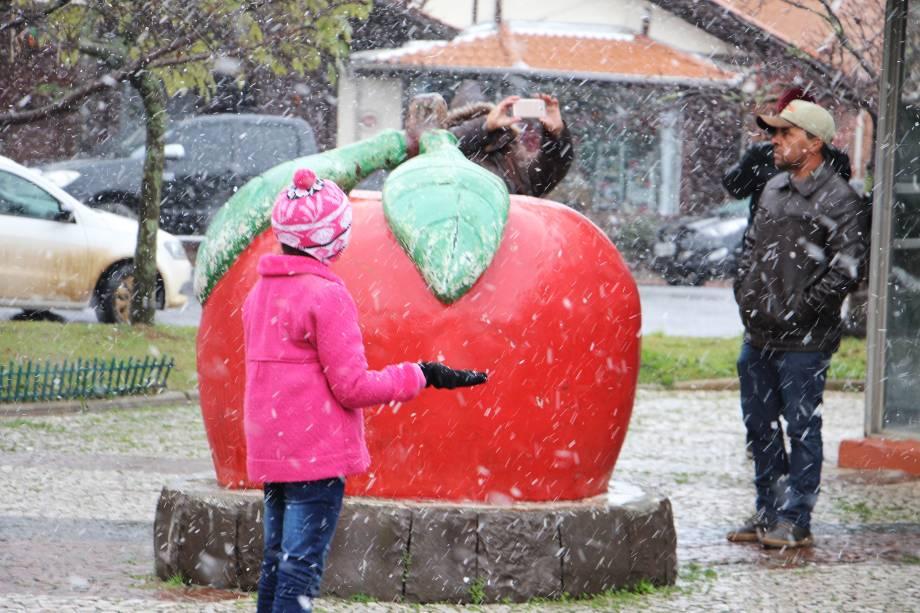 A cidade de São Joaquim, na Serra Catarinense registra neve no início da tarde para a alegria de moradores e turistas que aproveitaram para fazer fotos - 09/06/2017