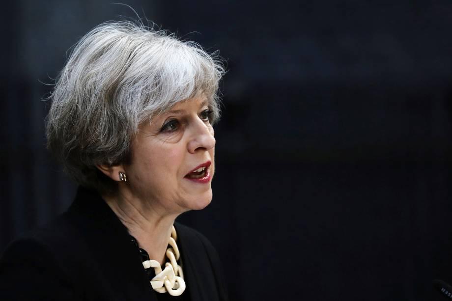 Primeira-ministra britânica Theresa May fala sobre o atentado de sábado (03/06/2017), em Londres