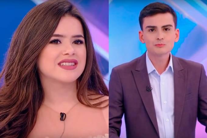 Maisa Silva e Dudu Camargo no programa do Silvio Santos