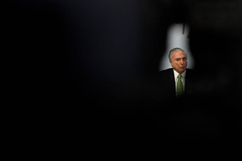 O presidente Michel Temer (PMDB) na cerimônia em comemoração ao Dia Mundial do Meio Ambiente no Palácio do Planalto, em Brasília - 05/06/2017