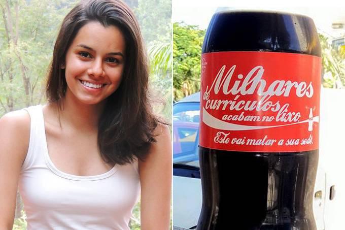 Jovem estampa currículo em Coca-Cola