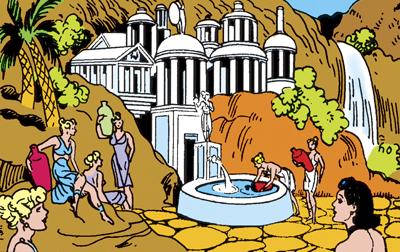 Themyscira, ou Ilha Paraíso, em quadrinho antigo da heroína