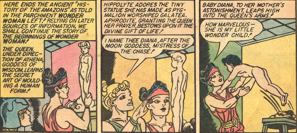 Hipólita e Afrodite criam Diana, feita a partir do barro pela amazona e avivada pela deusa, em uma das versões de sua origem nos quadrinhos
