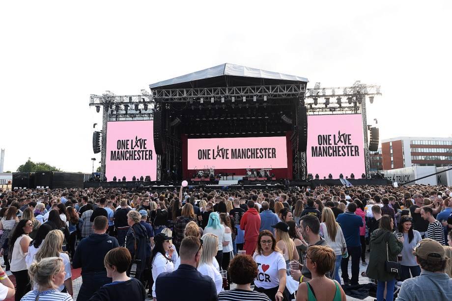 Palco do show beneficente One Love Manchester, com a apresentação de Ariana Grande e artistas internacionais  - 04/05/2017
