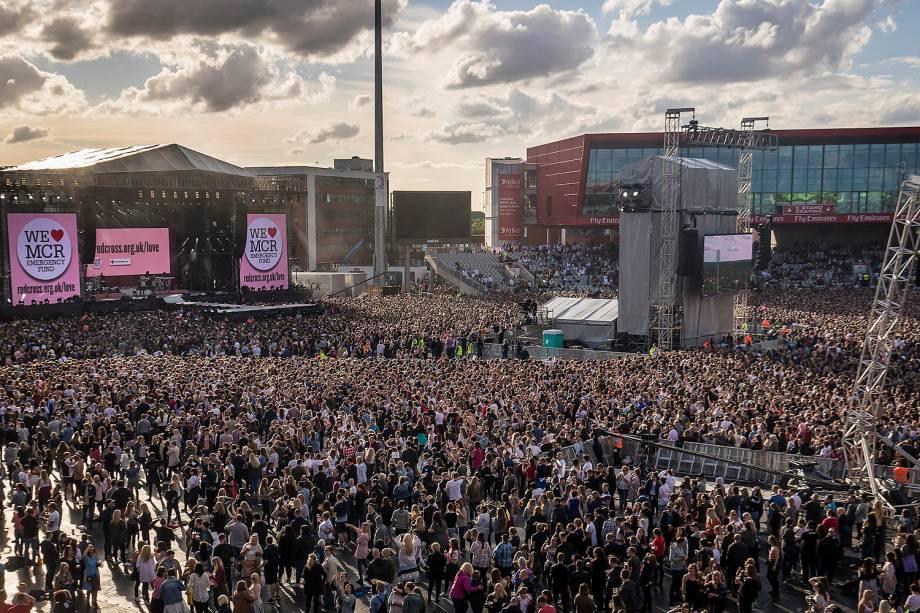 Público durante o show beneficente One Love Manchester, com a apresentação de Ariana Grande e artistas internacionais  - 04/05/2017
