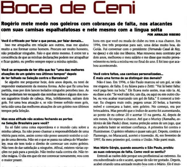 Entrevista de Rogério Ceni à edição de agosto de 2000 de Placar
