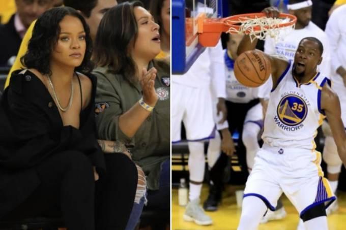 Rihanna e Kevin Durant trocaram olhares e alfinetadas ao longo do jogo