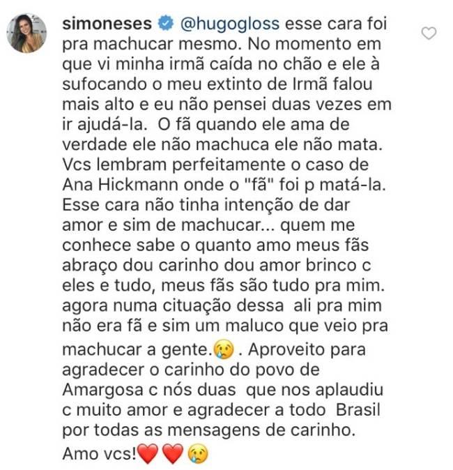 Simone e Simaria: fã derruba Simaria em show na Bahia