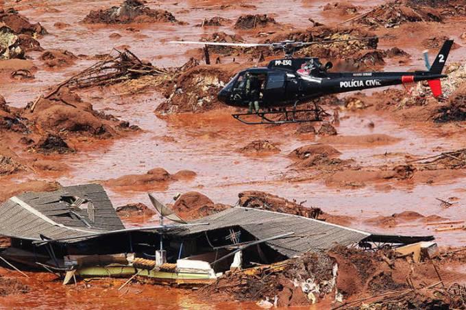 Estragos causados em Bento Rodrigues, distrito de Mariana, em Minas Gerais