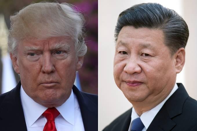 Donald Trump, dos Estados Unidos, e Xi-Jinping, da China