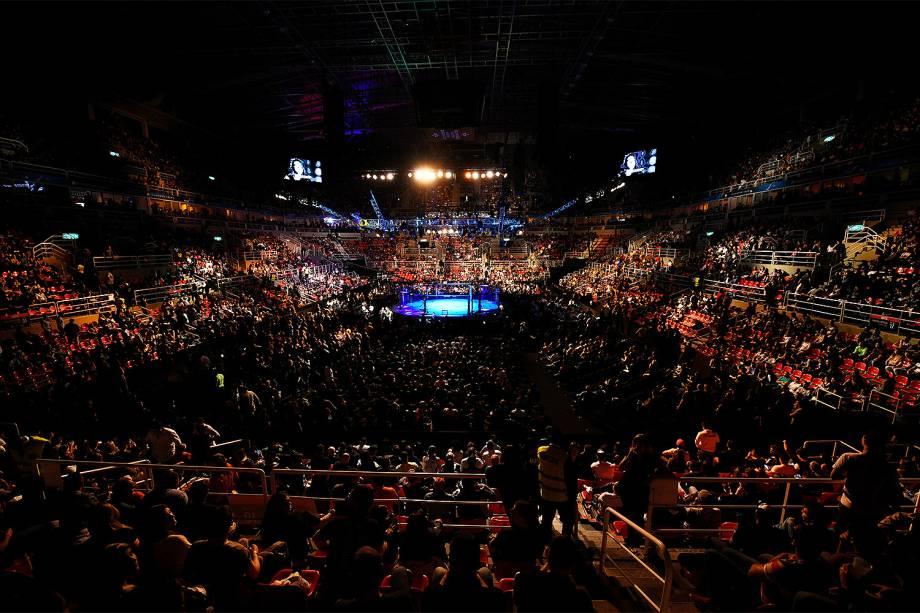 Octógono da Arena da Barra, na zona oeste do Rio de Janeiro, palco da disputa entre Aldo vs. Holloway no UFC 212 Rio - 04/06/2017
