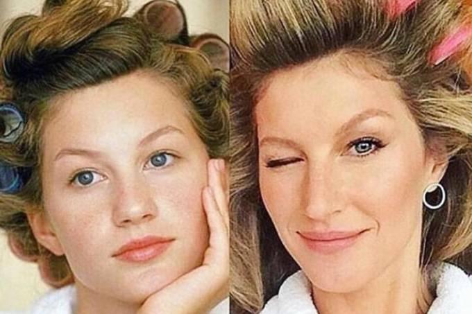 Gisele Bündchen com bobes na cabeça: 'Dona Florinda desde 1994'
