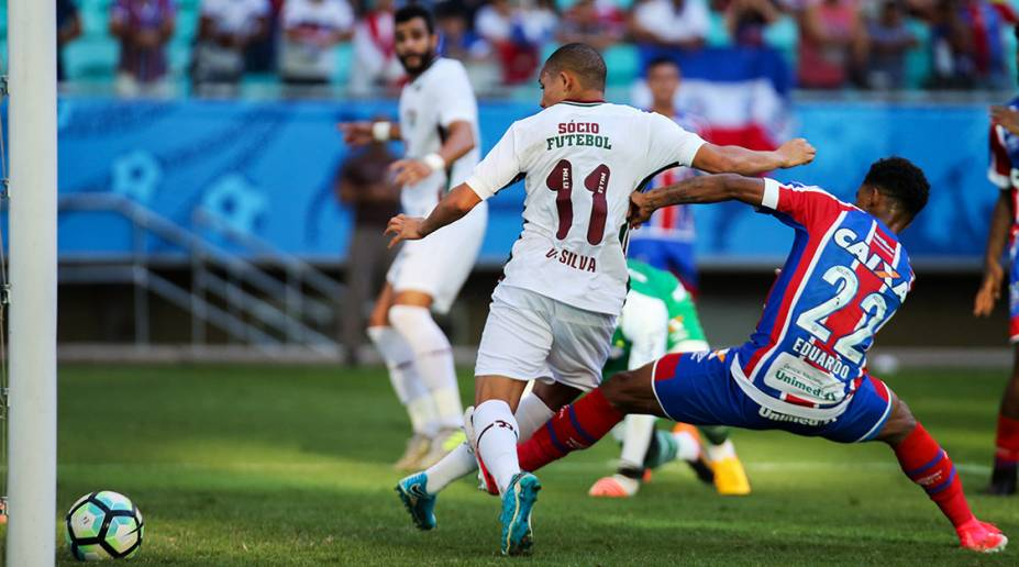 Wellington Silva marca para o Fluminense contra o Bahia, pelo Campeonato Brasileiro, na Arena Fonte Nova, Salvador.(Bahia 1 x 1 Fluminense)