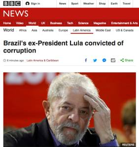 Cobertura da BBC sobre a condenação de Lula