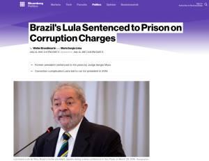 Cobertura da Bloomberg sobre a condenação de Lula