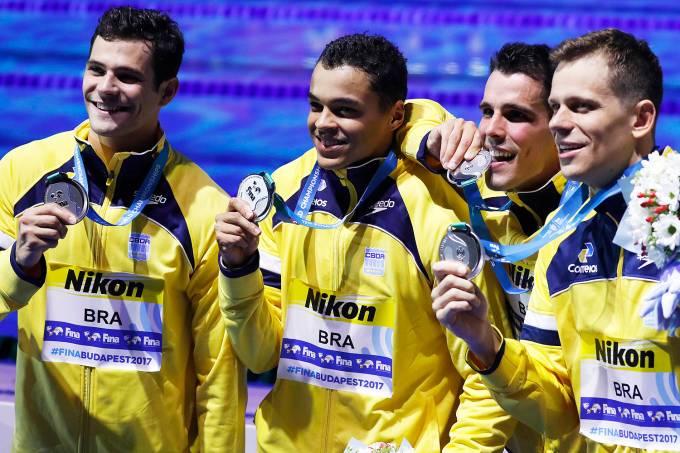 Brasil leva prata no 4x100m no Mundial de Esportes Aquáticos de Budapeste, na Hungria – 23/07/2017