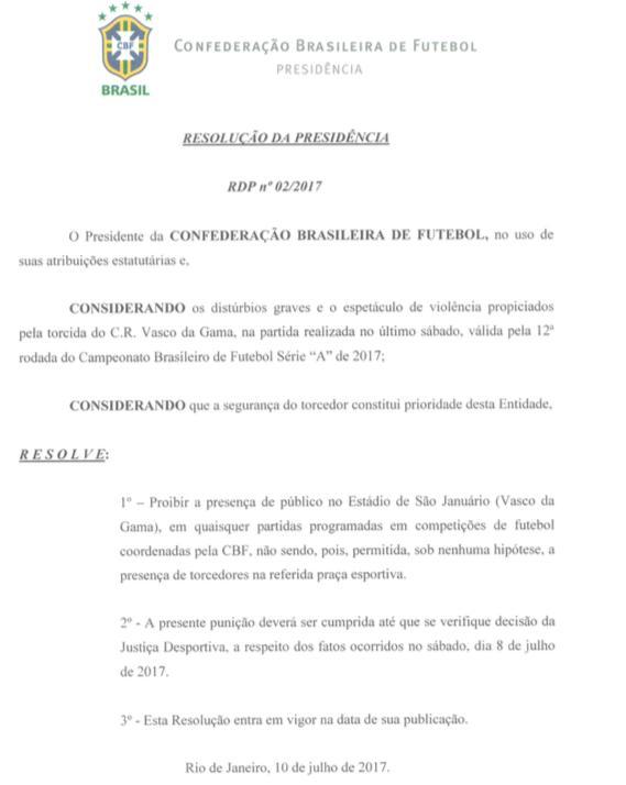 Resolução da CBF que determinou a suspensão de partidas com torcida em São Januário