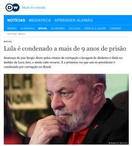 Cobertura do DW sobre a condenação de Lula