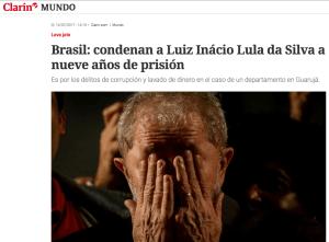 Cobertura do Clarín sobre a condenação de Lula