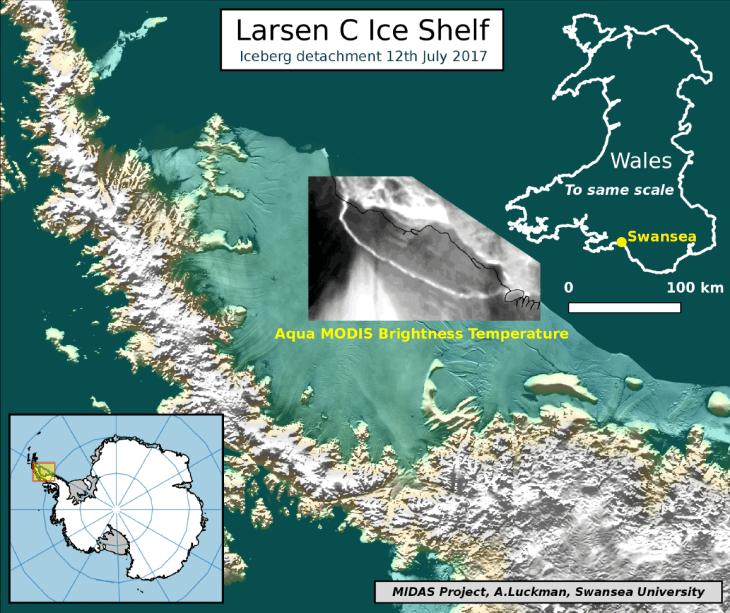 Mapa da Plataforma Larsen C mostrando a separação do iceberg