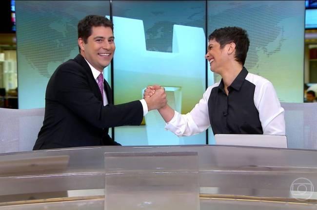 Evaristo Costa se despede de Sandra Annenberg e do 'Jornal Hoje'