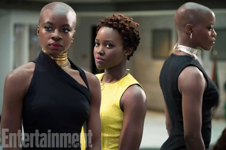 Empoderadas: Danai Gurira, Lupita Nyong'o e Florence Kasumba interpretam Okoye, Nakia e Ayo, respectivamente, agentes do serviço secreto de Wakanda, Dora Milaje, composto apenas por mulheres