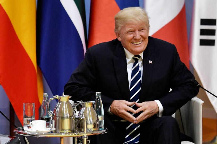 Presidente Donald Trump, dos Estados Unidos, durante conferência do G20 em Hamburgo, na Alemanha - 07/07/2017