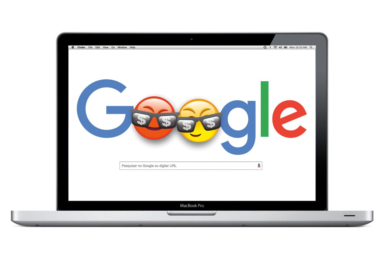 Laptop com o logo do Google