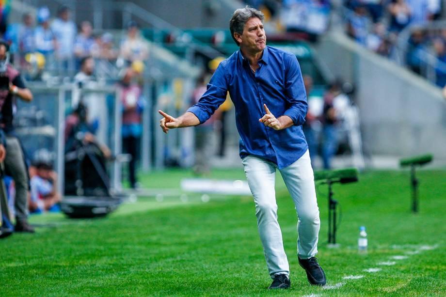 O técnico do Grêmio, Renato Gaúcho, na partida contra o Avaí, pelo Campeonato Brasileiro, em Porto Alegre