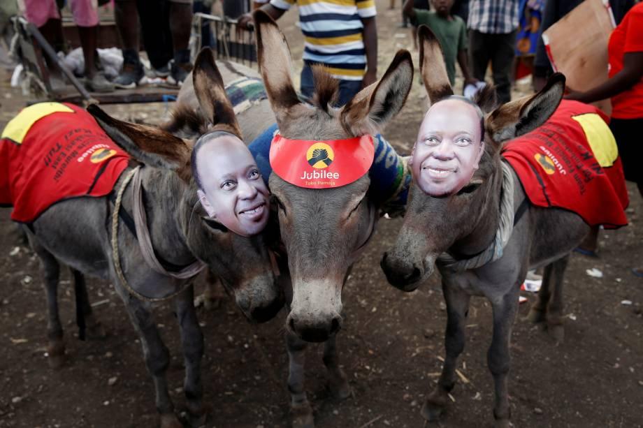 Burros usam máscaras que representam o presidente do Quênia, Uhuru Kenyatta, durante manifestação eleitoral do Partido Jubileu em Nairobi, no Quênia - 21/07/2017