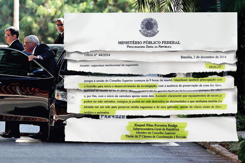 NO GABINETE- Janot e seus seguranças, e o fac-símile de um dos documentos assinados por Raquel