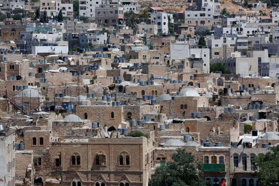 Visão geral das casas na cidade velha de Hebron, na Cisjordânia