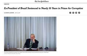 Cobertura do New York Times sobre a condenação de Lula