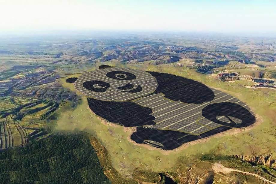 Usina solar em formato da panda na China