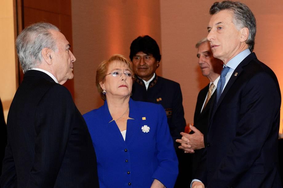 O presidente da República, Michel Temer, se encontrou com o presidente da Argentina, Mauricio Macri, durante a 50ª Cúpula do Mercosul, em Mendoza - 21/07/2017