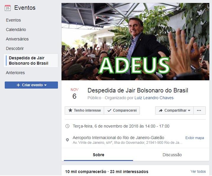 Evento de despedida de Bolsonaro após eleição de 2018
