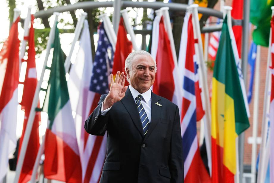 O presidente Michel Temer chega à Filarmônica de Hamburgo, para o encontro de cúpula do G20, na Alemanha