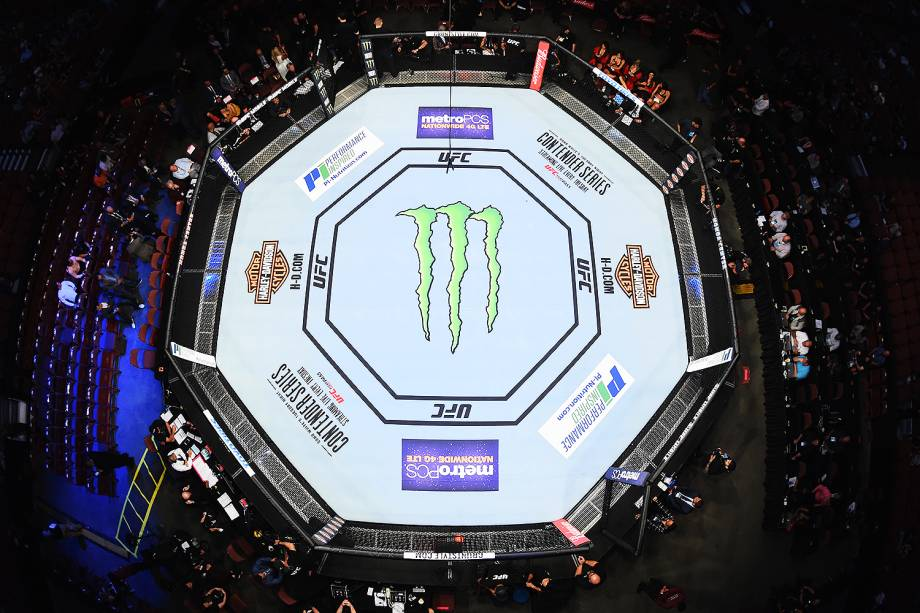 Vista do octógono no UFC 214 em Anaheim (EUA) - 29/07/2017